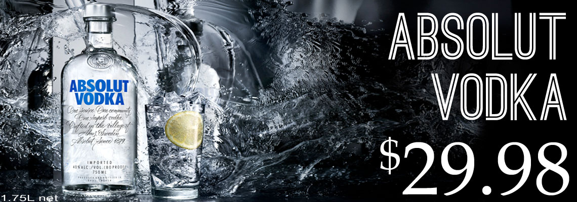 Abosolut Vodka $29.98
