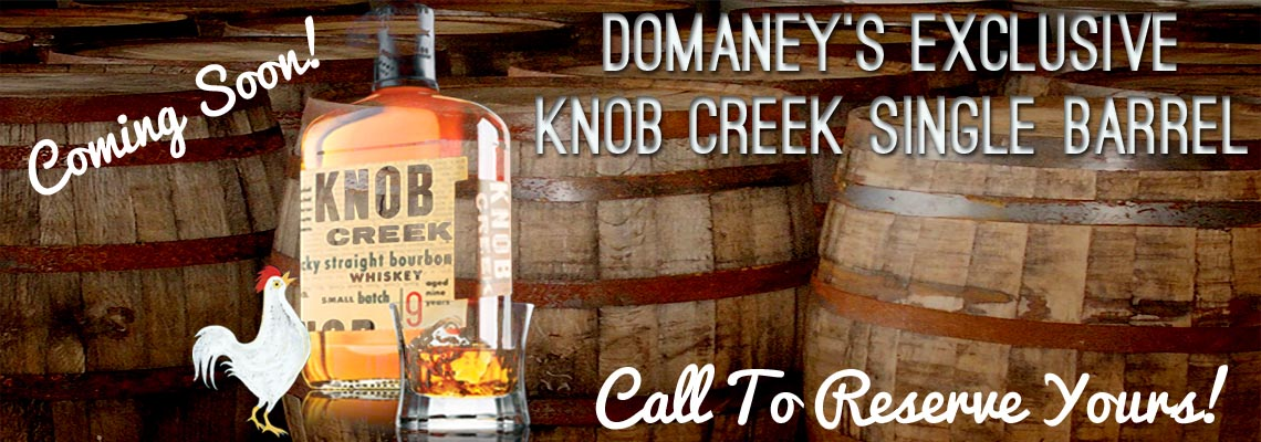 Coming soon! Staff-selected exclusive Knob Creek single barrel. Call to reserve yours!